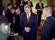 US President Bill Clinton leave's after a event on Social Security February 17, 1999 at the White House in Washington, DC.