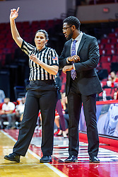 NORMAL, IL - November 05:  Erin Frias speaks with Theo Dean during a college women's basketball game between the ISU Redbirds and the Truman State Bulldogs on November 05 2019 at Redbird Arena in Normal, IL. (Photo by Alan Look)
