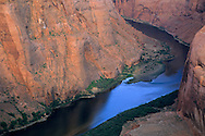 Morning light over the Colorado River canyon (detail) at Horseshoe Bend, near Page, Arizona