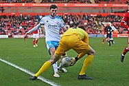 Ashley Nadesan in action during the EFL Sky Bet League 2 match between Walsall and Crawley Town at the Banks's Stadium, Walsall, England on 18 January 2020.