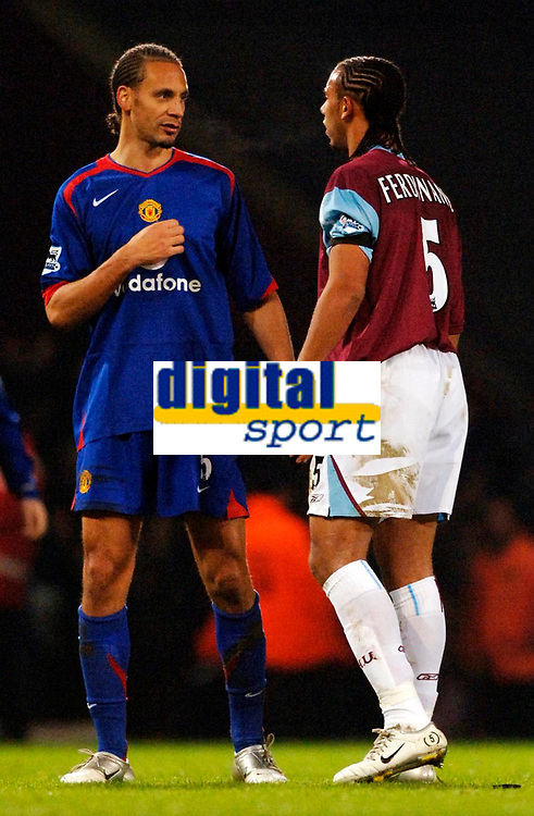 Photo: Daniel Hambury.<br /> West Ham United v Manchester United. The Barclays Premiership. 27/11/2005.<br /> West Ham's Anton Ferdinand and Manchester's United's Rio Ferdinand at the end of the game.