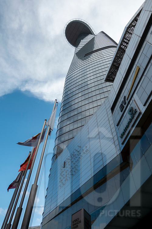 Worm's eye view of the Bitexco Tower, Ho Chi Minh City, Vietnam, Southeast Asia
