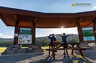 Hiking at Herron Park in Kalispell, Montana, USA model released