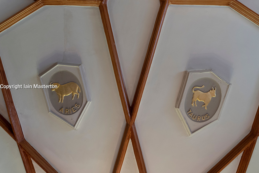 Roof detail with horoscope motifs at Torridon Hotel on the North Coast 500 scenic driving route in northern Scotland, UK