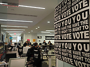 Fielding calls in the Election Protection headquarters