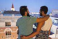 Nader (left) and Omar (right) on a rooftop in central Istanbul, Turkey.