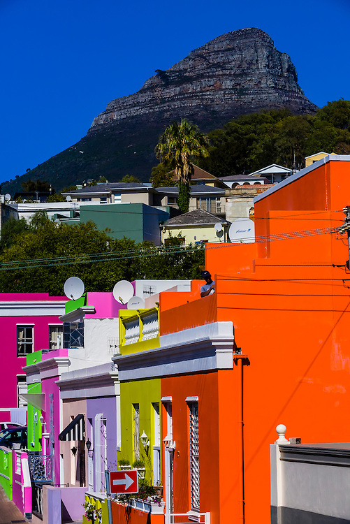 Brightly colored houses in the Bo-Kaap quarter of Cape Town, South Africa. It was formerly known as the Malay Quarter.