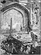 Indian Mutiny (Sepoy Mutiny) 1857-1859: Siege of Delhi - engineers blowing up the Cashmere Gate so that Colonel Cambell's men could pass into the city, September 1857. Wood engraving c1895