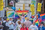 Religious based protestors - The London Pride parade and event in Trafalgar Square.