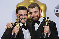 """88th Academy Awards press room.<br /> Jimmy Napes and Sam Smith win the Oscar for best original song """"Writing's On The Wall,"""" for the film Spectre."""
