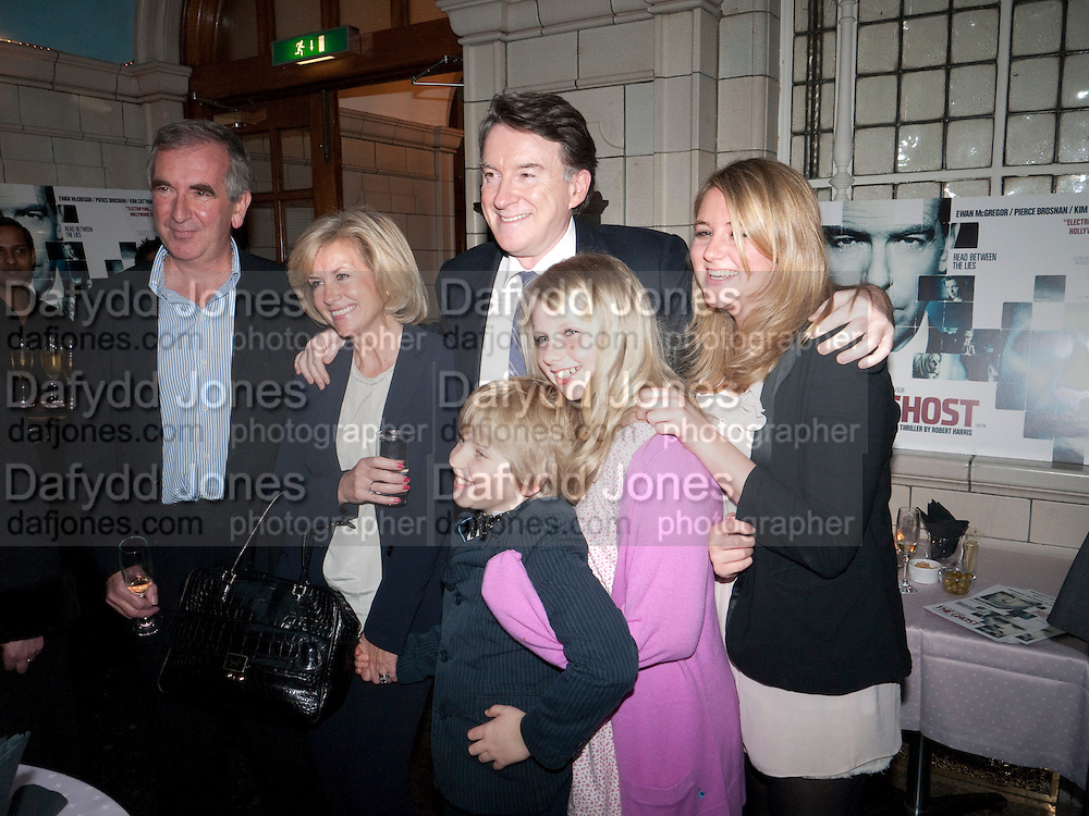 ROBERT HARRIS; FAMILY; LORD MANDELSON, Special preview screening of the Ghost. Introduced by the book's author Robert Harris. The Courthouse Hotel Great Marlborough St. London. 30 March 2010.