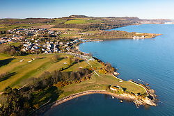 Aerial view from drone of Aberdour and Aberdour Golf Course,  Fife , Scotland, UK
