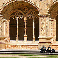 Europe, Portugal, Lisbon. Arches of Jerónimos Monastery cloisters in the district of Belem, a UNESCO World Heritage site.
