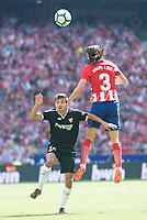 Atletico de Madrid's Filipe Luis and Sevilla's Jesus Navas during La Liga match between Atletico de Madrid and Sevilla FC at Wanda Metropolitano Stadium in Madrid, Spain September 23, 2017. (ALTERPHOTOS/Borja B.Hojas)