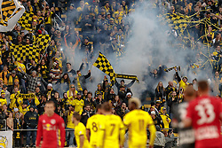 November 4, 2018 - Columbus, OH, U.S. - COLUMBUS, OH - NOVEMBER 04: Columbus Crew fans celebrate after the Crew won the MLS eastern conference semifinals game between the Columbus Crew SC and the New York Red Bulls on November 04, 2018 at Mapfre Stadium in Columbus, OH. The Crew won 1-0. (Photo by Adam Lacy/Icon Sportswire) (Credit Image: © Adam Lacy/Icon SMI via ZUMA Press)
