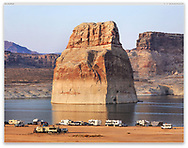 Lone Rock in The Glen Canyon National Recreation Area at Lake Powell, Page Arizona, USA