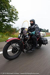 Jim Gilfoyle riding Midge, his Class III 1938 Harley-Davidson El Knucklehead in the Cross Country Chase motorcycle endurance run from Sault Sainte Marie, MI to Key West, FL. (for vintage bikes from 1930-1948). Stage 1 from Sault Sainte Marie to Ludington, MI USA. Friday, September 6, 2019. Photography ©2019 Michael Lichter.