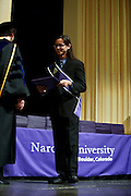SHOT 5/10/15 2:07:40 PM - Naropa University Spring 2015 Commencement ceremonies at Macky Auditorium in Boulder, Co. Sunday. Parker J. Palmer, a world-renowned author and activist known for his work in education and social change, delivered the commencement speech to more than 300 graduate and undergraduate students along with Naropa faculty and graduate's family members. Naropa University is a private liberal arts college in Boulder, Colorado founded in 1974 by Tibetan Buddhist teacher and Oxford University scholar Chögyam Trungpa. (Photo by Marc Piscotty / © 2014)