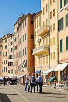 Coastal walkway and buildings, Camogli, Liguria, Italy