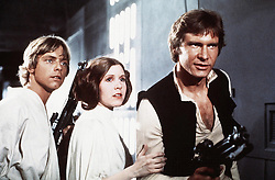 CARRIE FRANCES FISHER (October 21, 1956 – December 27, 2016) the actress best known as Star Wars' Princess Leia Organa, has died after suffering a heart attack. She was 60. PICTURED: Star Wars: Episode VI - A New Hope Movie still. RELEASE DATE: May 25, 1977  PICTURED: MARK HAMILL as Luke Skywalker, CARRIE FISHER as Princess Leia Organa and HARRISON FORD as Han Solo. (Credit Image: © Lucas Films/Entertainment Pictures/ZUMAPRESS.com)