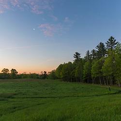 Hay field at dawn - Emery Farm in Durham, New Hampshire.