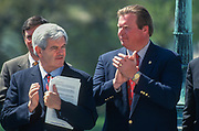 WASHINGTON, DC, USA - 1997/04/15: U.S. Speaker Newt Gingrich, left, and Rep. J.D. Hayworth applaud during a rally of Republican members of Congress on Tax Day at the West side of the U.S. Capitol April 15, 1997 in Washington, DC. Gingrich is pushing for a constitutional amendment that would require a two-thirds vote in each chamber to increase taxes.  (Photo by Richard Ellis)