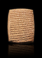 Hittite cuneiform tablet. Adana Archaeology Museum, Turkey. Against a black background .<br /> If you prefer to buy from our ALAMY STOCK LIBRARY page at https://www.alamy.com/portfolio/paul-williams-funkystock/hittite-art-antiquities.html . Type - Adana - in LOWER SEARCH WITHIN GALLERY box. Refine search by adding background colour, place, museum etc<br /> <br /> Visit our HITTITE PHOTO COLLECTIONS for more photos to download or buy as wall art prints https://funkystock.photoshelter.com/gallery-collection/The-Hittites-Art-Artefacts-Antiquities-Historic-Sites-Pictures-Images-of/C0000NUBSMhSc3Oo