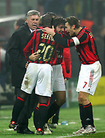 Milano 6/12/2005 Champions League <br /> <br /> Milan Schalke 04 3-2<br /> <br /> Andrea Pirlo celebrates after scoring with Milan trainer Carlo Ancelotti and Clarence Seedorf and Andriy Shevchenko<br /> <br /> Andrea Pirlo corre a festeggiare con Carlo Ancelotti Clarence Seedorf e Andriy Shevchenko dopo il go<br /> <br /> Photo Andrea Staccioli Graffiti