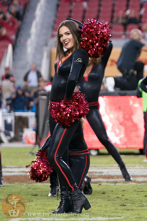 September 21, 2017; Santa Clara, CA, USA; San Francisco 49ers Gold Rush cheerleader Sierrah during halftime against the Los Angeles Rams at Levi's Stadium. The Rams defeated the 49ers 41-39.