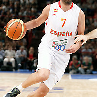 15 July 2012: Juan-Carlos Navarro of Team Spain dribbles during a pre-Olympic exhibition game won 75-70 by Spain over France, at the Palais Omnisports de Paris Bercy, in Paris, France.