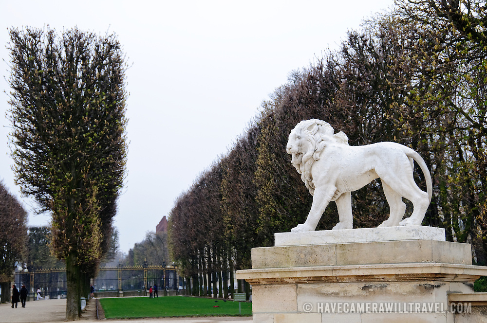 Statues and trees in the Jardin du Luxembourg, Paris, adjacent to the Senate.
