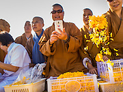 """02 JANUARY 2015 - KHLONG LUANG, PATHUM THANI, THAILAND: People throw marigolds onto the footpath for monks at Wat Phra Dhammakaya at the start of the 4th annual Dhammachai Dhutanaga (a dhutanga is a """"wandering"""" and translated as pilgrimage). More than 1,100 monks are participating in a 450 kilometer (280 miles) long pilgrimage, which is going through six provinces in central Thailand. The purpose of the pilgrimage is to pay homage to the Buddha, preserve Buddhist culture, welcome the new year, and """"develop virtuous Buddhist youth leaders."""" Wat Phra Dhammakaya is the largest Buddhist temple in Thailand and the center of the Dhammakaya movement, a Buddhist sect founded in the 1970s.   PHOTO BY JACK KURTZ"""