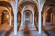7th century crypt which was the burial place of saints Secondiano, Veriano and Marcelliano below the 8th century Romanesque Basilica church of St Peters, Tuscania, Lazio, Italy .<br /> <br /> Visit our ITALY PHOTO COLLECTION for more   photos of Italy to download or buy as prints https://funkystock.photoshelter.com/gallery-collection/2b-Pictures-Images-of-Italy-Photos-of-Italian-Historic-Landmark-Sites/C0000qxA2zGFjd_k