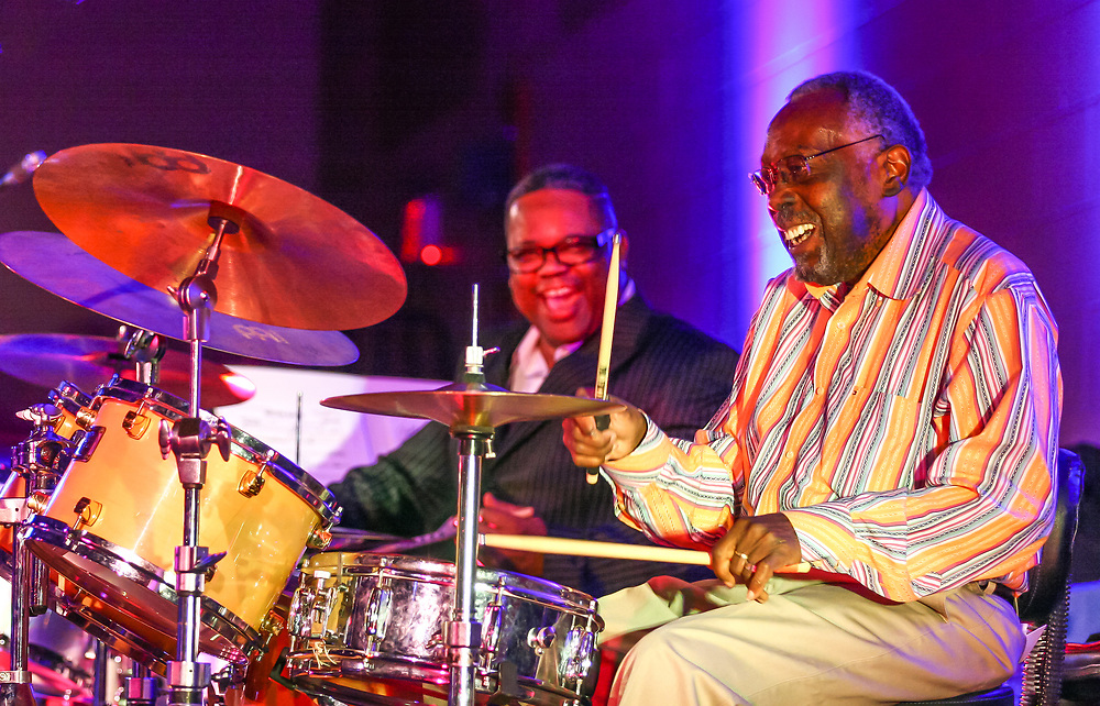 """Clyde Stubblefield, Madison's """"Funky Drummer,"""" performing January 29, 2016 at Madison Country Day School Jazz Showcase."""