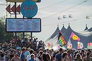 Partying at the Beat Bar. The 2015 Glastonbury Festival, Worthy Farm, Glastonbury.
