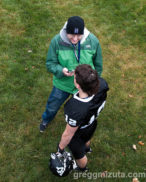 Scott Sepich, The Oregonian, interviews Vale junior Zac Jacobs. Vale defeated Blanchet Catholic 51-0 in the Oregon 3A Semifinal game at Kennison Field, Hermiston, Oregon. November 22, 2014.