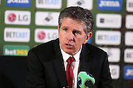 Claude Puel, the Southampton manager talks to the media during his post match press conference.Premier league match, Swansea city v Southampton at the Liberty Stadium in Swansea, South Wales on Tuesday 31st January 2017.<br /> pic by  Andrew Orchard, Andrew Orchard sports photography.