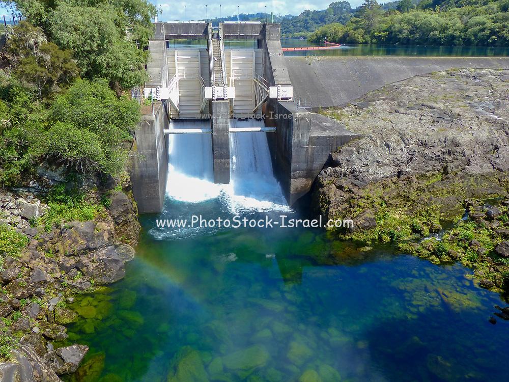 Aratiatia Rapids dam on Waikato river opened with water breaking thru, New Zealand, North Island