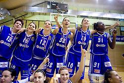 Team of Celje Tjasa Muhovic, Anja Klavzar, Lea Jagodic, Ivona Matic, Kristina Verbole and Nikya Hughes celebrate with the Cup at finals match of Slovenian 1st Women league between KK Hit Kranjska Gora and ZKK Merkur Celje, on May 14, 2009, in Arena Vitranc, Kranjska Gora, Slovenia. Merkur Celje won the third time and became Slovenian National Champion. (Photo by Vid Ponikvar / Sportida)