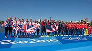 "Rio de Janeiro. BRAZIL.   left. GBR W8+ Silver Medalist, awards dock. crew, GBR W8+. Bow. Katie GREVES, Katie, WILSON, Melanie, Frances HOUGHTON, Polly SWANN,  Jessica EDDIE,  Olivia CARNEGIE-BROWN,  Karen BENNETT, Zoe LEE, and cox. Zoe DE TOLEDO2016 Olympic Rowing Regatta. Lagoa Stadium,<br /> Copacabana,  ""Olympic Summer Games""<br /> Rodrigo de Freitas Lagoon, Lagoa.   Saturday  13/08/2016 <br /> <br /> [Mandatory Credit; Peter SPURRIER/Intersport Images]"
