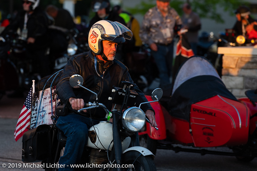 Scott Funk riding his 1946 BSA model C-11 in the Cross Country Chase motorcycle endurance run from Sault Sainte Marie, MI to Key West, FL (for vintage bikes from 1930-1948). Stage 2 from Ludington, MI to Milwaukee, WI, USA. Saturday, September 7, 2019. Photography ©2019 Michael Lichter.