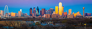 Panoramic image of the Dallas downtown skyline at sunset
