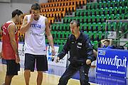 Sassari 14 Agosto 2012 - Qualificazioni Eurobasket 2013 -Allenamento<br /> Nella Foto : DANILO GALLINARI SIMONE PIANIGIANI<br /> Foto Ciamillo