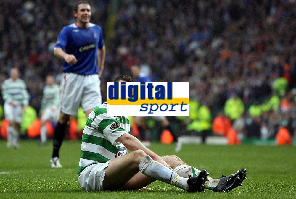 Photo: Paul Thomas.<br /> Glasgow Celtic v Glasgow Rangers. Bank of Scotland Scottish Premier League. 11/03/2007.<br /> <br /> Stephen McManus of Celtic can't believe his luck.