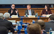 Photo by Mara Lavitt<br /> March 1, 2019<br /> Maurice R. Greenberg Center, Yale University<br /> <br /> Yale Cyber Leadership Forum. From left: Richard Domingues Boscovich, Adam Hickey, Rebecca Crootof.