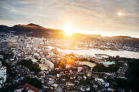 The morning sun in Nagasaki, Japan.
