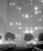 The Huntington Hotel from Catherdral Park, shrouded in fog