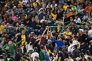 Fans catch a foul ball as the Oakland Athletics host the San Francisco Giants at Oakland Coliseum in Oakland, California, on July 31, 2017. (Stan Olszewski/Special to S.F. Examiner)