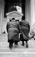 Two jews climbing the stairs to the Temple of Books..The New York Public Library, New York, 2007.