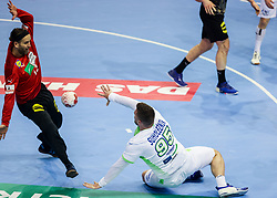 Silvio Heinevetter of Germany vs Matic Suholeznik of Slovenia during handball match between National Teams of Germany and Slovenia at Day 2 of IHF Men's Tokyo Olympic  Qualification tournament, on March 13, 2021 in Max-Schmeling-Halle, Berlin, Germany. Photo by Vid Ponikvar / Sportida